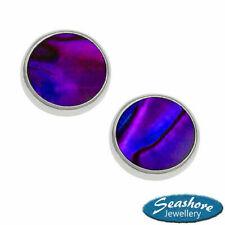 Paua Abalone Shell Purple Stud Earrings Womens Silver Jewellery Gift Boxed
