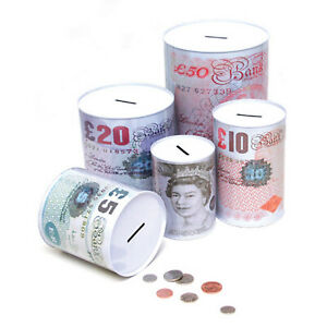 Sterling Sealed Money Tin Piggy Bank Money Savings Box £5 - 12 CM X 16 CM