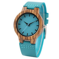 Creative Natural Wood Bamboo Women Sport Dress Quartz Wrist Watch Leather Band