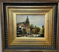 Deluxe Framed Cityscape Street Scene Painting, Mass Prod., Estate Find REDUCED!