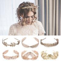Women Headband Goddess Leaf Flower Hair Crown Head Piece Gold Band Bridal
