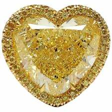 20.00 ct 16 mm Yellow Heart Cut Diamond 14K Yellow Gold Over Engagement Ring