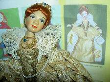 Lovely vintage, Old Cottage England, Elizabethan Lady character doll w/ jewels
