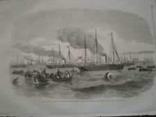 Navy Review Spithead Liberty Men Going On Shore by Carmichael 1856 print ref AT