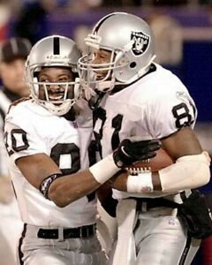 JERRY RICE & TIM BROWN 8X10 PHOTO OAKLAND RAIDERS PICTURE NFL CELEBRATION