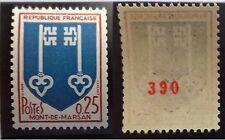 Timbre de roulette avec numéro rouge. Mont de Marsan (Yv.1469a). Neuf ** N° 390.
