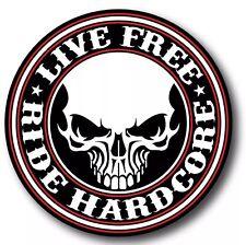 "YETI Tumbler Live Free Ride Hardcore decal sticker 4"" Harley Davidson USA Made!"