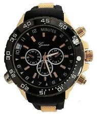Rose Gold Black Mens Watch Geneva Metal Oversized Boyfriend Designer Sport