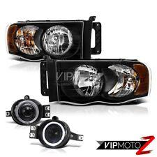 02-05 Dodge RAM 1500/2500 ST Black Headlight+Halo Projector Fog Light+Wiring Kit