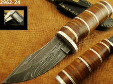 SUPERB HANDMADE DAMASCUS KNIFE HUNTING BOWIE HUNTING KNIFE W/SHEATH (2962-24