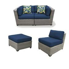Set of 3 Patio Wicker Loveseat and Chair with Ottoman in Navy