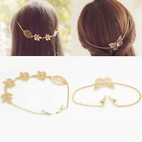 Fashion Lady Gold Leaves Butterfly Rhinestone Chain Hair Clip Headband Accessory