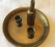 MINITURE BRASS TRAY BOTTLE AND 2 GOBLETS DOLLS HOUSE