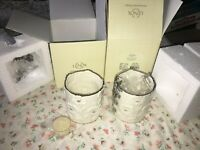 2 NIB Lenox Daisy Votive Tea Light Candle Holder Ivory China 24K Gold Accent NEW