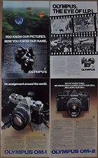 1979 OLYMPUS Camera advertisements x4, for Olympus OM-1, OM-2, OM-10 cameras