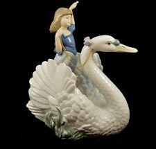 "LLADRO LARGE RARE RETIRED FIGURINE #5705 ""SWAN AND PRINCESS"" GIRL SWAN MINT"