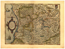 Milan Parma Genoa Lombardy North Italy illustrated map Abraham Ortelius ca.1570
