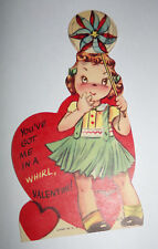Vtg 1950s Little Girl Pinwheel Spinning Whirl Children's Valentine's Day Card