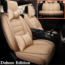 Beige Deluxe Edition Leather Car Seat Full Set Cover Universal For 5-Seats Car
