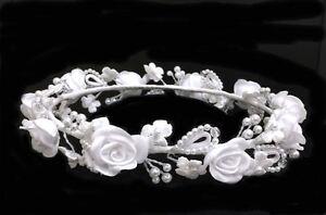Wedding Flower Girl & Communion White.Flower Girl Headpiece. 5.5 Inches Diameter