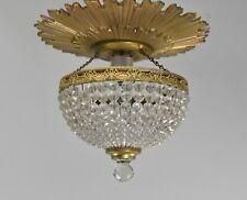Antique Crystal / Beaded Dome Shade Flush Mount Brass Sunburst / Star Chandelier