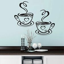 Kitchen 3D Coffee Cups Cafe Tea Wall Stickers Art Vinyl Living Room Home Decor