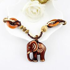 Women Boho Jewelry Ethnic Style Wood Elephant Pendant Long Hand Made Bead