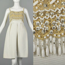 Xs Bob Bugnand 1950s Beaded White Cotton Short Pleats Dress Formal Party 50s Vtg