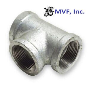 "1-1/2"" 150 Female NPT Tee Galvanized Malleable Iron Pipe Fitting <MI030841GMI"