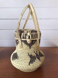 Vintage Oceania Pacific Islands Woven Lidded Basket
