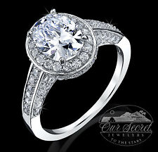 Quality Cz Extra Brilliant Ss Sz 10 2.5 ct Majestic Oval Halo Ring Top Russian