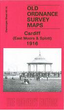 OLD ORDNANCE SURVEY MAP CARDIFF EAST MOORS & SPLOTT 1916