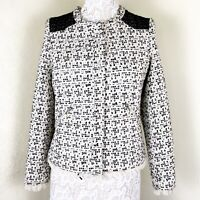 Ark & Co Black And Off White Snap Closure Womens Blazer Size Small