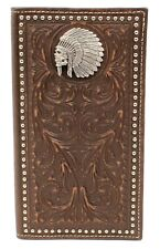 Ariat Western Men Wallet Rodeo Embossed Studs Indian Skull Concho Brown A3537002