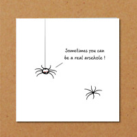 Rude Birthday card Work colleague card for friend family Funny humorous Spider