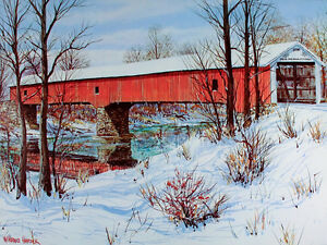 Winter RED COVERED BRIDGE Poster WEST UNION Parke County INDIANA Art Print MINT
