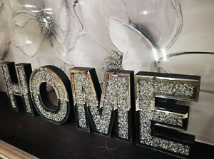 Mirrored Diamond LARGE HOME Letters Crushed Crystal Mirror Diamond Wall Art