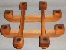 Interlocking 4 pc TEAK WOOD CANDLEHOLDER - Eight Candle Capacity MID CENTURY