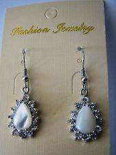 Earrings White shell cubic zirconia Iridescent Rhodium plate hook