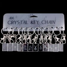 12 pcs. CRYSTAL KEY CHAIN Assorted Emblem Charm Lucite New & Carded Great Gifts