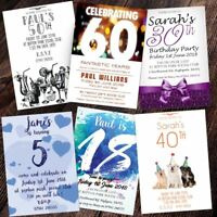 Personalised Birthday Invitations Party Invites 18th 21st 30th 40th 50th 60th