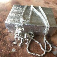 925 Sterling Silver Pitbull Dog Necklace 24 Pendant
