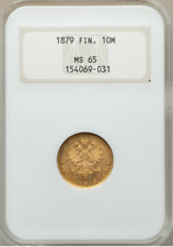 Russia Finland 1879 S GOLD 10 MARKKAA NGC MINT STATE 65, Old Slab