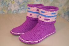 Women crochet boots, handmade house shoes, knitted wool socks, crochet slippers