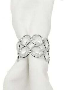 Silver color metal and crystal napkin rings  - 4 pieces 1.75 inch diameter