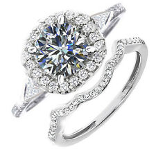 4+ Ct White Solitaire Simulated Diamond Engagement 925 Sterling Silver Ring Sets