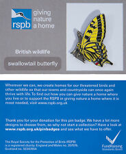 RSPB Pin Badge | Swallowtail Butterfly | GNaH backing card [00946]