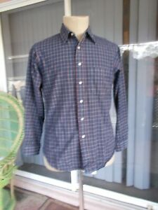Men's Sir PENDLETON Lodge Shirt Wool L/S Size L Large Blue Tartan Plaid Work