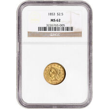 1853 US Gold $2.50 Liberty Head Quarter Eagle - NGC MS62