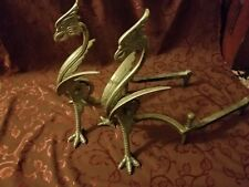 Antique Gothic Bradley and Hubbard Dragon Cast Iron andirons Pair